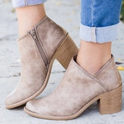 Shoespie Casual Slip On Size Zipper Ankle Boots