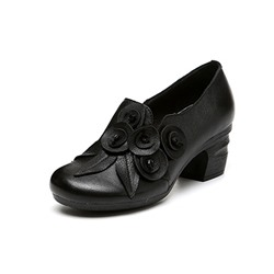 Shoespie Vintage Flower Slip On High Heel Leather Loafers