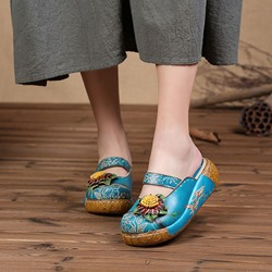 Vintage Leather Blue Floral Closed Toe Slip On Sandals