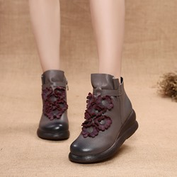 Shoespie Vintage Floral Zipper Wedge Leather Ankle Boots