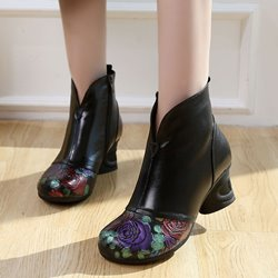 Vintage Black Floral High Heel Leather Ankle Boots