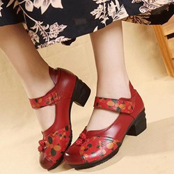 Shoespie Vintage Floral Hook Loop Leather Loafers