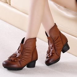 Shoespie Vintage Leather Flower Back Zip Ankle Boots
