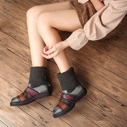 Shoespie Vintage Leather Slip-On Patchwork Ankle Boots