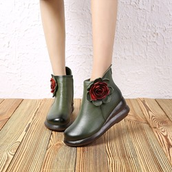 Shoespie Vintage Flower Wedge Leather Ankle Boots