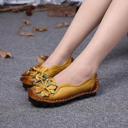 Shoespie Vintage Flower Comfortable Flat Leather Loafers