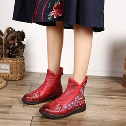 Shoespie Retro Platform Embroidery Back Zip Ankle Boots