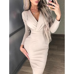 Long Sleeve Nylon V Neck Pleated Women's Pencil Dress