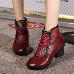 Shoespie Vintage Leather Floral Size Zipper Ankle Boots