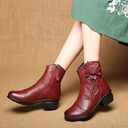 Shoespie Vintage Leather Floral Side Zipper Ankle Boots