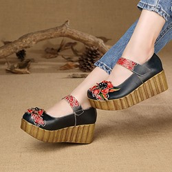 Shoespie Vintage Leather Flower Platform Hook Loop Loafers