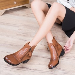 Shoespie Vintage Plain Side Zipper Leather Ankle Boots