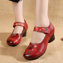 Shoespie Vintage Flower Hook Loop Leather Loafers