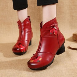 Shoespie Vintage Floral High Heel Leather Ankle Boots