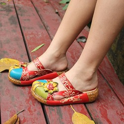 Shoespie Vintage Leather Platform Flower Closed Toe Sandals