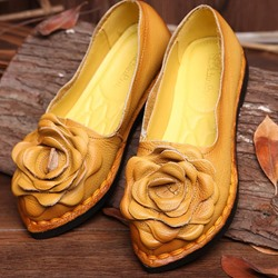 Shoespie Vintage Flat Flower Slip-On Leather Loafers
