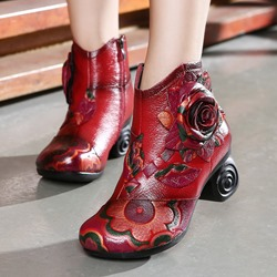 Shoespie Vintage Leather Floral Zipper Ankle Boots