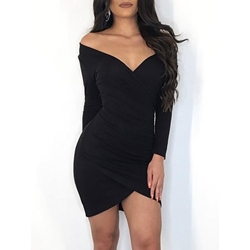 Off-The-Shoulder V Neck Spinning Women's Bodycon Dress