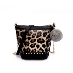 Shoespie PU Leopard Color Block Barrel-Shaped Crossbody Bags