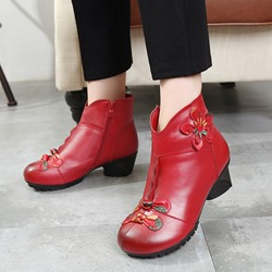 Shoespie Vintage Flower Zipper High Heel Ankle Boots
