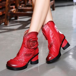 Shoespie Vintage Platform Leather Flower Zipper Ankle Boots