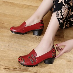 Shoespie Vintage Floral Slip On Leather Loafers