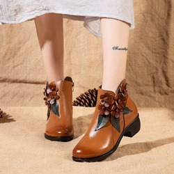 Shoespie Vintage Floral Zipper Leather Ankle Boots