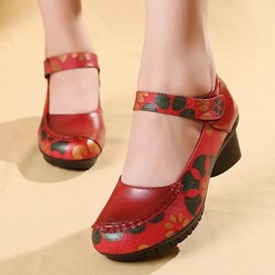 Shoespie Vintage Leather Floral Hook Loop Loafers