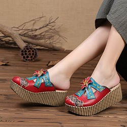 Shoespie Vintage Red Flower Slip-On Leather Sandals