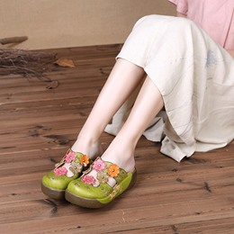 Shoespie Vintage Leather Flower Platform Slip On Sandals