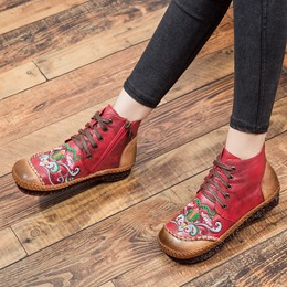 Shoespie Vintage Embroidery Lace Up Leather Ankle Boots