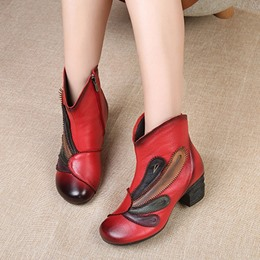 Shoespie Vintage Floral Side Zipper Leather Ankle Boots