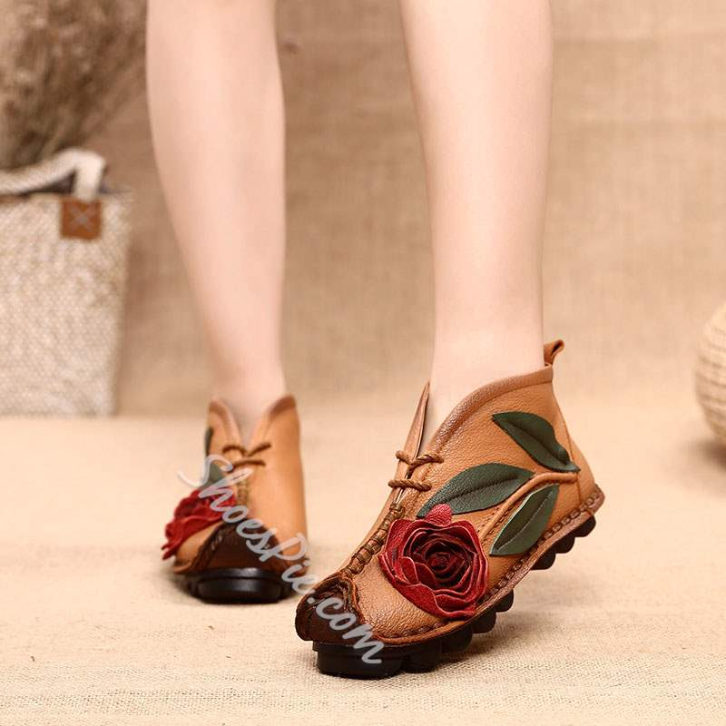 Shoespie Vintage Flower Slip On Flat Leather Ankle Boots