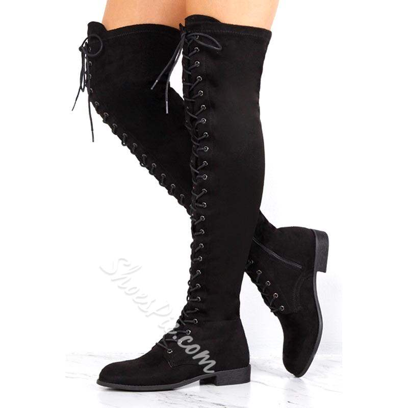 Shoespie Black Suede Cross Strap Block Heel Thigh High Boots