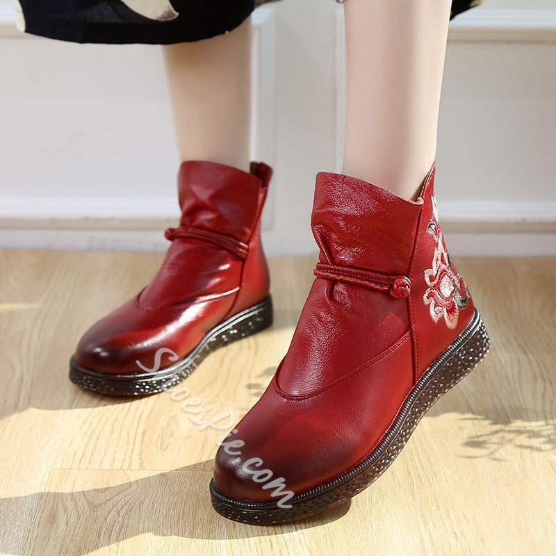 Shoespie Vintage Leather Flat Embroidery Ankle Boots