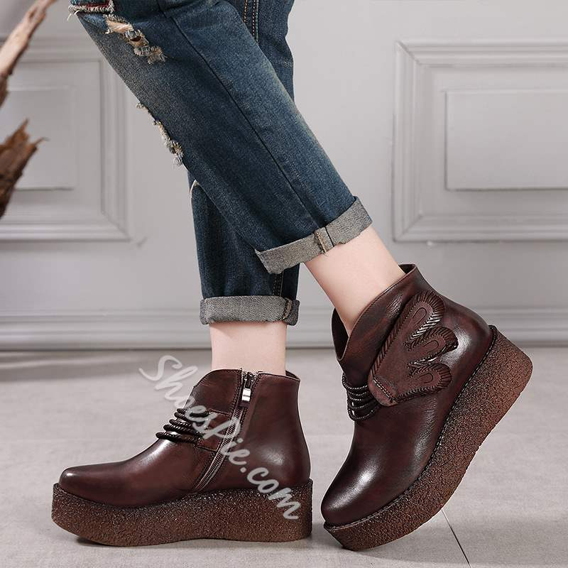 Shoespie Vintage Platform Side Zipper Leather Ankle Boots