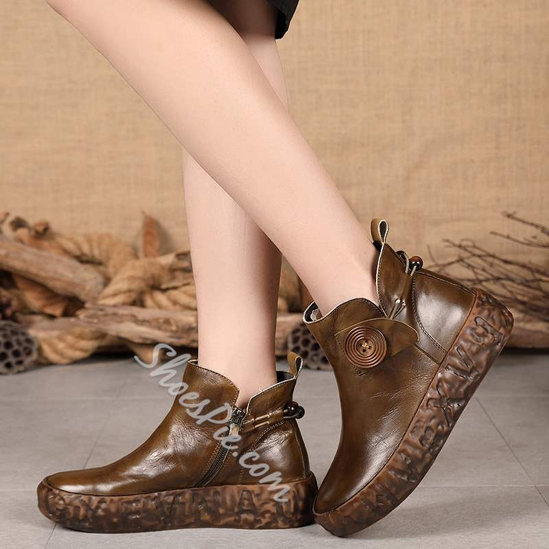 Shoespie Vintage Leather Platform Side Zipper Ankle Boots