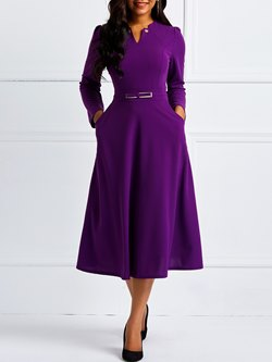 Long Sleeve Pocket Pullover Plain Women's Maxi Dress