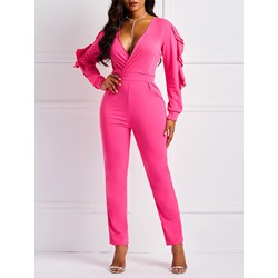 Rose Full Length Plain Casual Slim Women's Jumpsuit