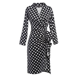 Polka Dots V Neck Fall Women's Bodycon Dress