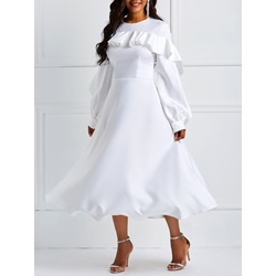 Long Sleeve Falbala Pullover A-Line Women's Maxi Dress