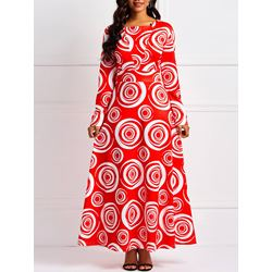 Ankle-Length Print Pullover Women's Maxi Dress