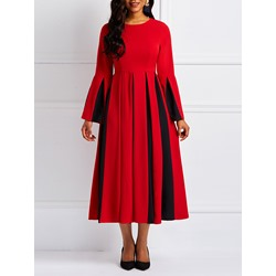 Long Sleeve Patchwork Pullover Elegant Women's Maxi Dress