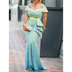 Slash Neck Mermaid Elegant Women's Maxi Dress