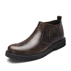 Shoespie Fashion Round Toe Plain PU Men's Boots