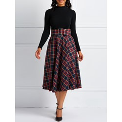 Mid-Calf Plaid A-Line High-Waist Women's Skirt