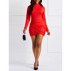 Long Sleeve Patchwork Plain Women's Bodycon Dress