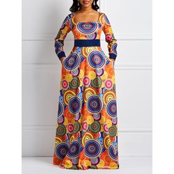 Square Neck Floor-Length Print Spring Women's Maxi Dress