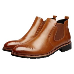 Shoespie Round Toe Chelsea Slip On Men's Boots