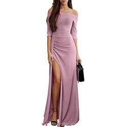 Slash Neck Half Sleeve Split Plain Women's Maxi Dress